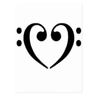 Bassschlüssel-Herz Postkarten