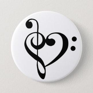 Bassschlüssel-und dreifacher Clef-Herz Runder Button 7,6 Cm