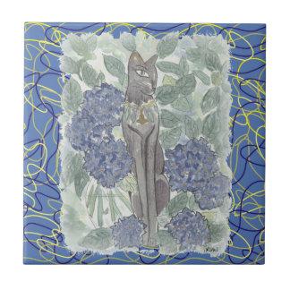 Bast unter Hydrangea-Blumen Keramikfliese