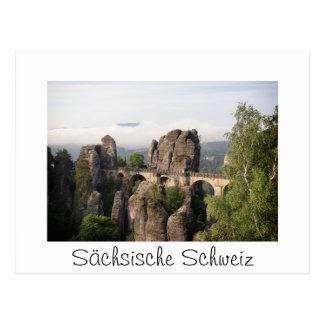 Bastei Brücke Sächsische Schweiz in der Postkarte