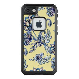 Batik-Indigo-Blumenmuster auf gelbem Hintergrund LifeProof FRÄ' iPhone 8/7 Hülle