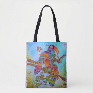 Batik-Vögel - 2 in 1 Farbartfront/hinteres Tasche