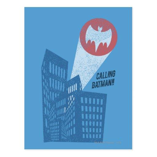 Batman anrufen Schläger-Symbol-Grafik Postkarte