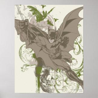 Batman, der Collage mit dem Schädel schwingt Plakate