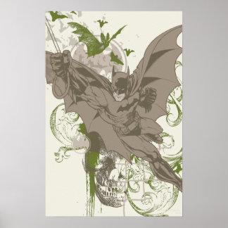 Batman, der Collage mit dem Schädel schwingt Plakat