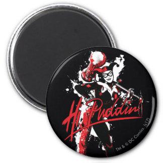 "Batman | Harley Quinn ""hallo Puddin'"" Tinten-Kunst Runder Magnet 5,1 Cm"
