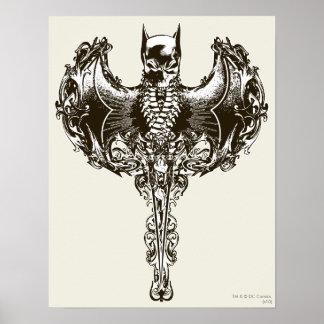 Batman-Hauben-und Schädel-Wappen Poster