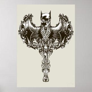 Batman-Hauben-und Schädel-Wappen Plakatdruck