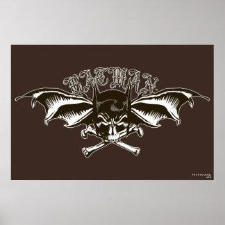 Batman-Schädel-Hauben-Flügel-Logo Poster