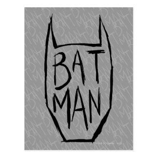 Batman tippen Kopf ein Postkarte