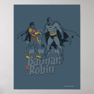 Batman und Robin beunruhigte Grafik Plakate