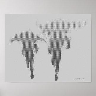 Batman und Robin-Halbtonsteigung Poster