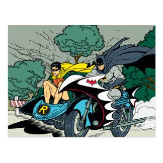Batman und Robin in Batcycle Postkarten
