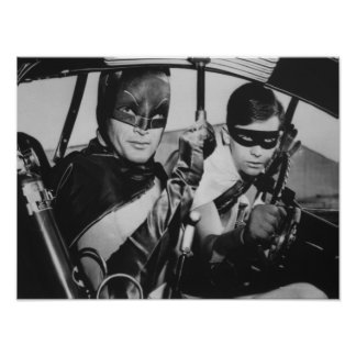 Batman und Robin in Batmobile Poster