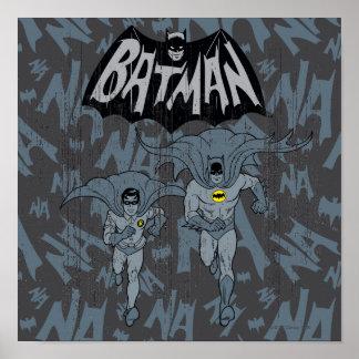 Batman und Robin mit Logo beunruhigter Grafik Posterdruck