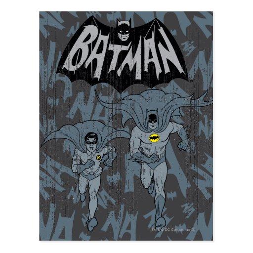 Batman und Robin mit Logo beunruhigter Grafik Postkarten