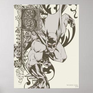 Batman und verzierter Buchstabe B Poster