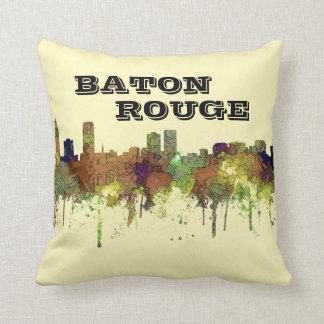 Baton Rouge-Louisiana-Skyline-Safari-Büffelleder Kissen