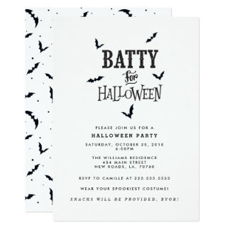 Batty für Halloween-Party Karte