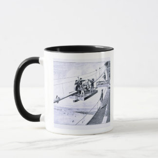 Bau der Brooklyn-Brücke, New York (litho) Tasse
