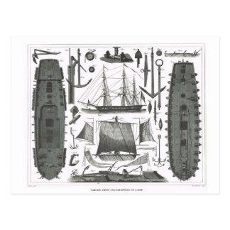 Bau eines Schiffs Postkarte