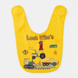 Bau-Fahrzeug-1. Geburtstags-Schellfisch Babylätzchen