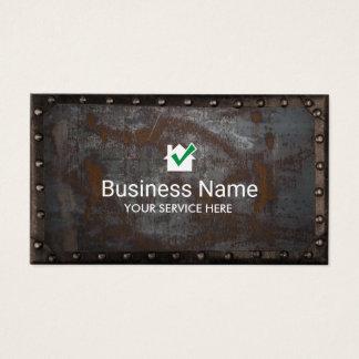 Bau-Hausikone Vintages rostiges Metall gerahmt Visitenkarte