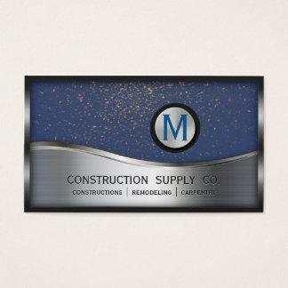 Bau-Monogramm LOGO Silber-Metallblau Visitenkarte