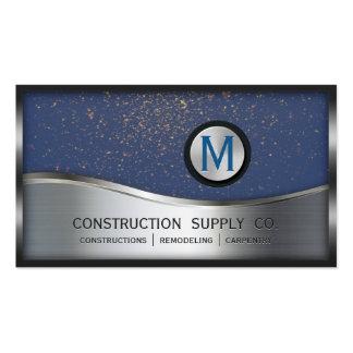 Bau-Monogramm LOGO Silber-Metallblau Visitenkarten