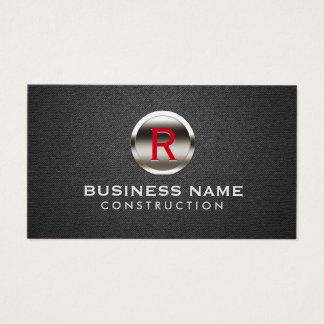 Bau-Monogramm-modernes schwarzes Leder Visitenkarte