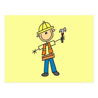 Bauarbeiter mit Hammer Postkarte
