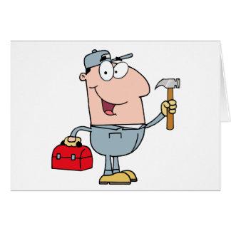 Bauarbeiter mit Hammer und Werkzeugkasten Karte