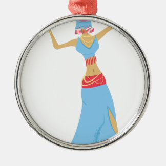Bauchtänzerin Rundes Silberfarbenes Ornament