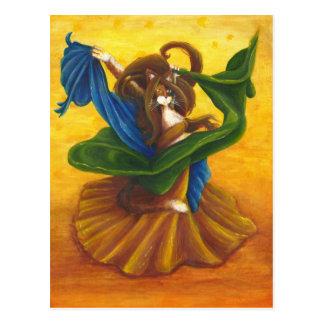 Bauchtänzerin-Sinti und Roma-Katzenpostkarte Postkarte