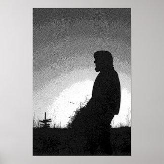Bauer am Sonnenuntergang Poster