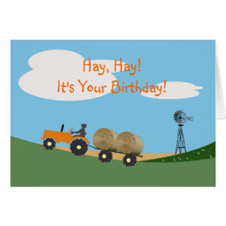Bauer auf Traktor-Geburtstags-Karte Grußkarte