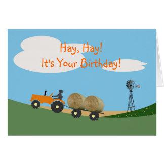 Bauer auf Traktor-Geburtstags-Karte Karte