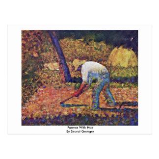 Bauer mit Hacke durch Seurat Georges Postkarte