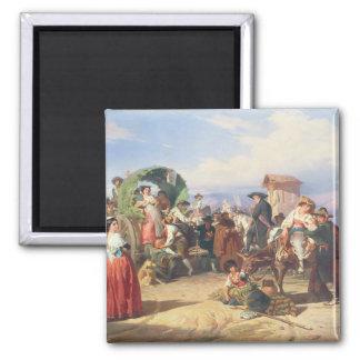Bauern der Campagna, 1860 (Öl auf Leinwand) Quadratischer Magnet