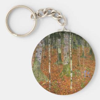 Bauernhaus mit Birken-Bäumen Schlüsselanhänger