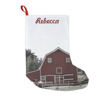 Bauernhaus-Rotscheune des rustikalen Westernlandes Kleiner Weihnachtsstrumpf