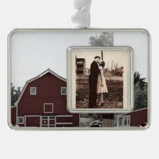 Bauernhaus-Rotscheune des rustikalen Westernlandes Rahmen-Ornament Silber