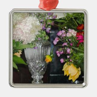 Bauernhof-Blumen des Quadratisches Silberfarbenes Ornament