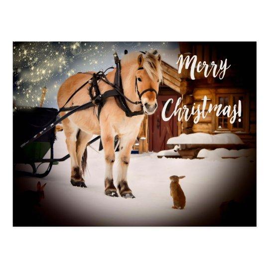 Bauernhof der frohen Weihnachten sternenklare Postkarte