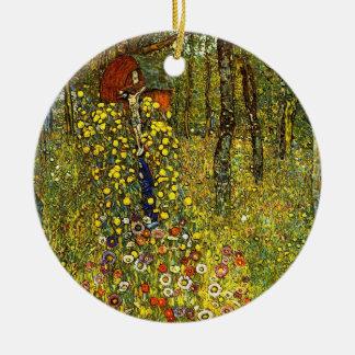Bauernhof-Garten mit Kruzifix durch Gustav Klimt Keramik Ornament