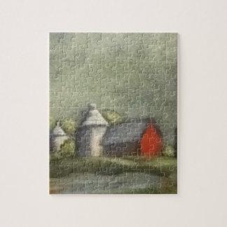 Bauernhof-Gebäude und Silos Puzzle