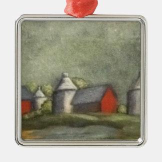Bauernhof-Gebäude und Silos Quadratisches Silberfarbenes Ornament