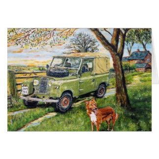 """""""BAUERNHOF"""" Gruß-Karte mit Land Rover-Szene Karte"""