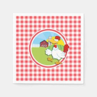 Bauernhof-Huhn; Roter und weißer Gingham Papierserviette