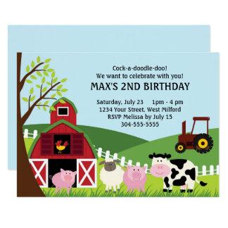 Bauernhof-Kindergeburtstag Karte